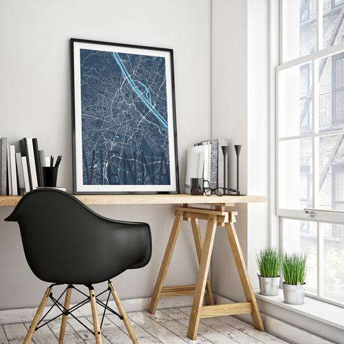 VÍDEŇ, 50x70cm, elegantní, tmavě modrá