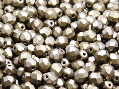 50ks Broušená kulička 6mm Bronz šedý duhový matný