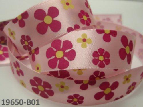 19650-B01 Stuha satén 22mm květy RŮŽOVÁ, svazek 2m