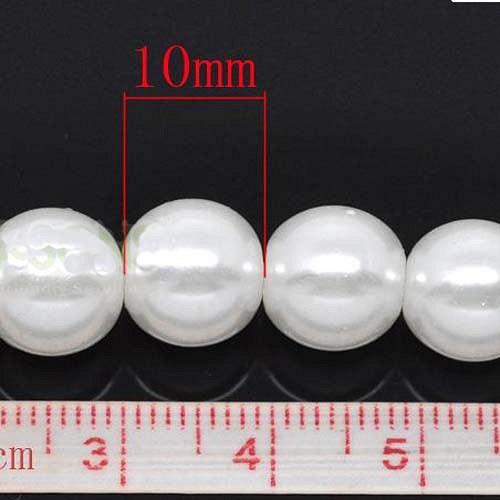 perly skleněné/ bílé/ 10mm/ 10ks