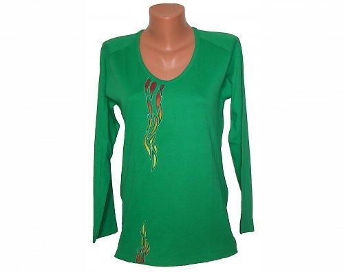 Triko malované - středně zelená