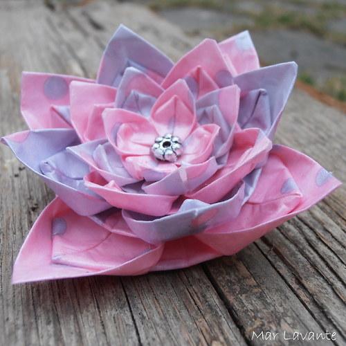 Brož origami papírový květ lila a růžová