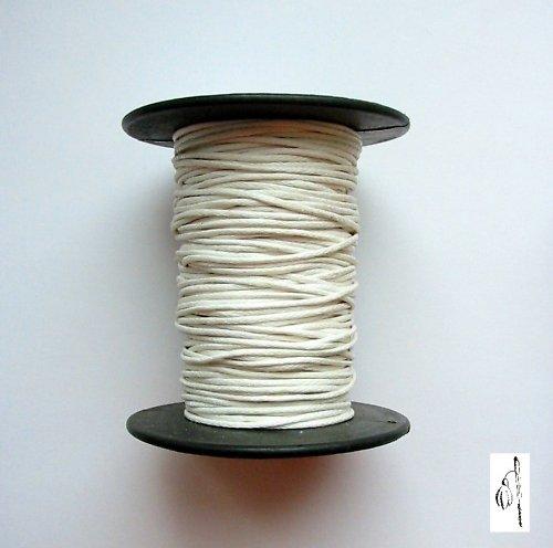 Voskovaná bavlněná šňůrka bílá, 1 mm, 4 m