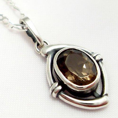 Přívěsek «Ovál» - stříbro 925/1000, záhněda