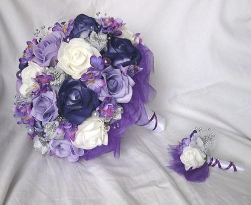 Svatební set - tmavě fialová + stříbrná
