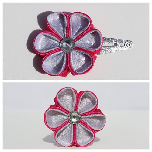 Sponka do vlasů - sytě růžovo-stříbrný květ