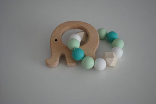 Dřevěné kousátko slon mentol-tyrkys