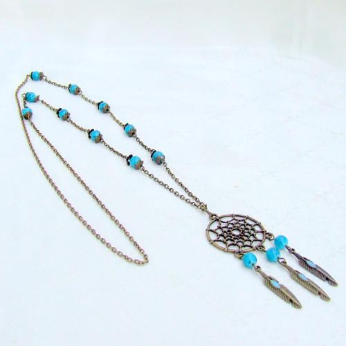 Dlouhý náhrdelník Tyrkysový lapač snů