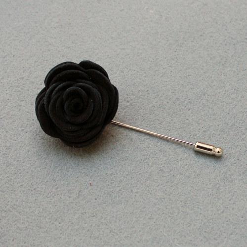 ozdoba do klopy - černá kožená květina na odznak!