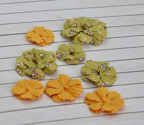 Latkové kvetiny pro scrapbook (8 květin), set #4