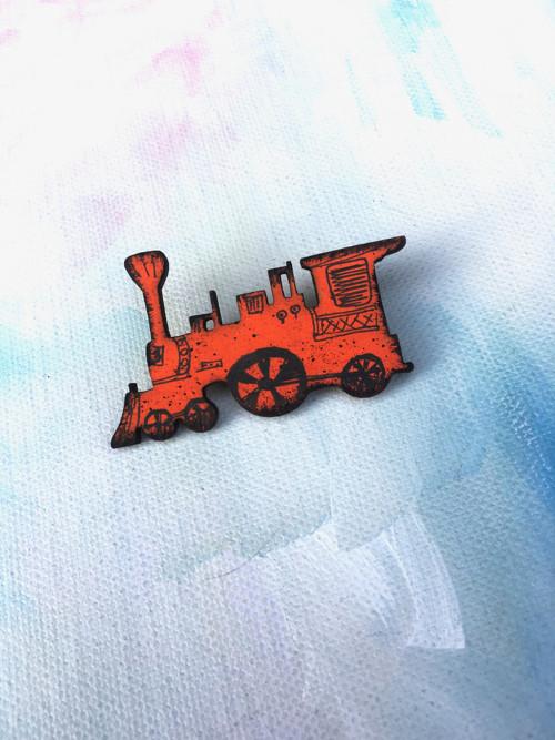 Dřevěné brože - lokomotiva