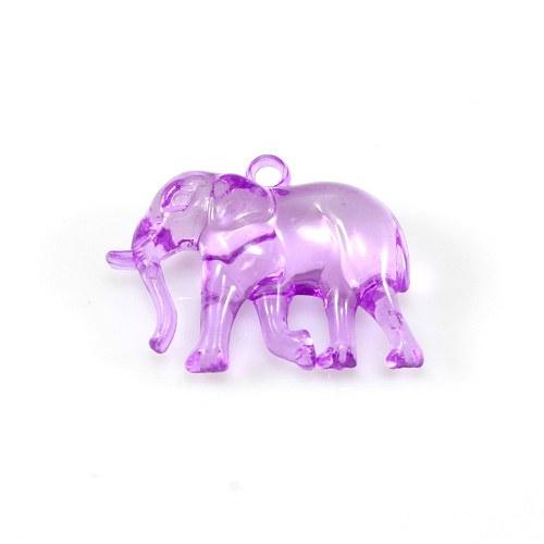 Fialový slon tmavší - plastový přívěsek, 32x26 mm