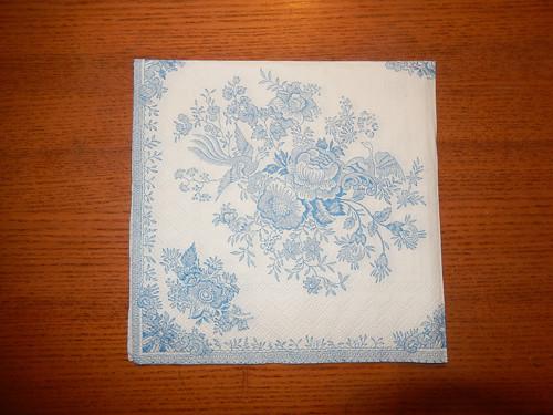 Ubrousek na decoupage - světle modré růže