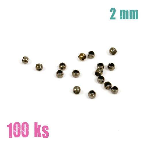 Zamačkávací rokajl černý 2 mm 100 ks