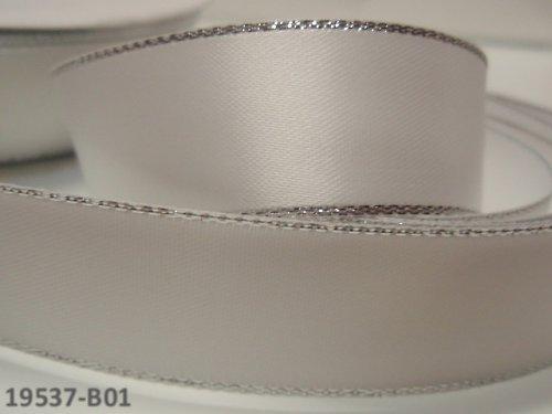 19537-B01 Stuha satén stř. lem 22mm BÍLÁ, á 1m