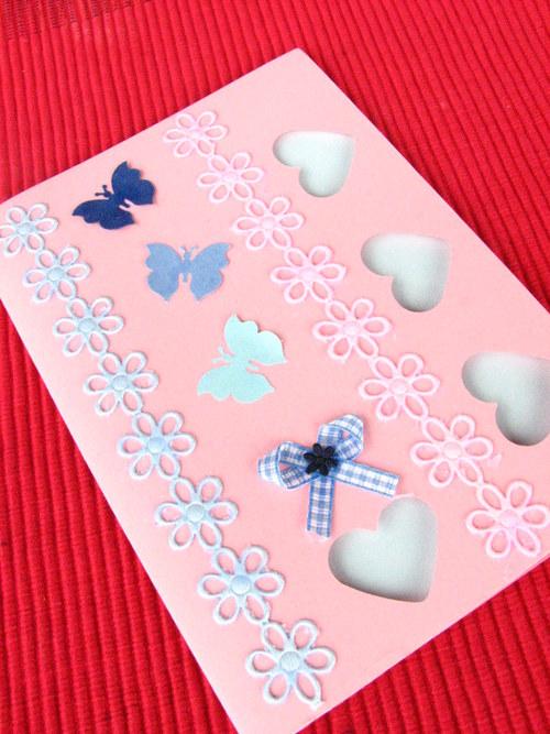 Papírové přání - růžovo-modré 15x10,5 cm doprodej