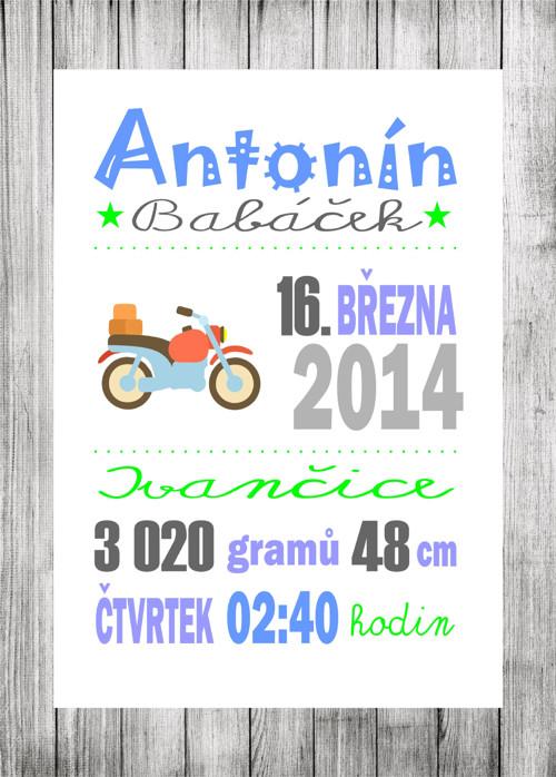 Informace o narození miminka - plakát pro kluky