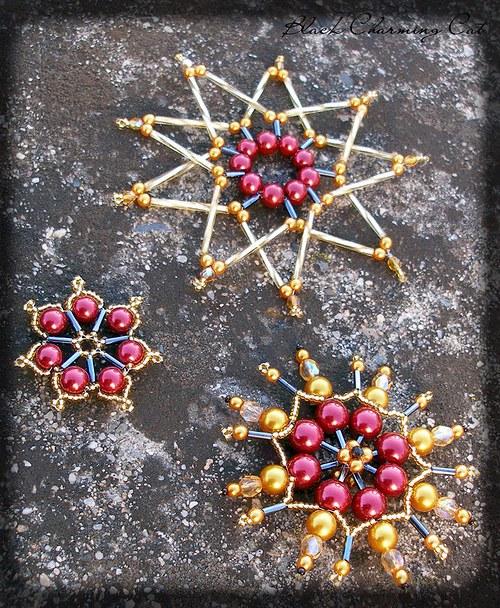 Vánoční ozdoby - bordó/zlaté