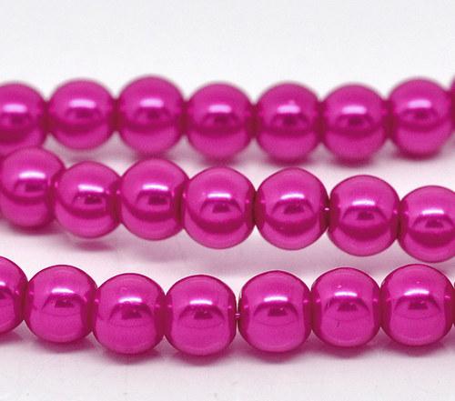 perly skleněné / růžová - tmavě / 8mm/ 14ks