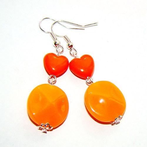 náušnice oranžové kytičky