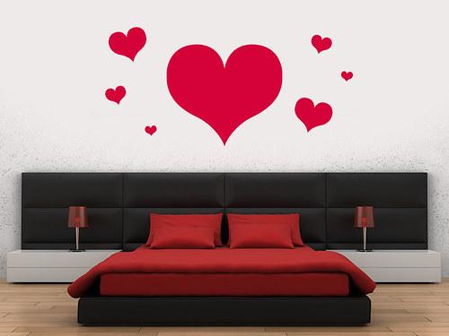 Srdce 02 - samolepka na stěnu