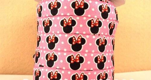 Pruženka/guma š. 16 mm: Mickey růžová