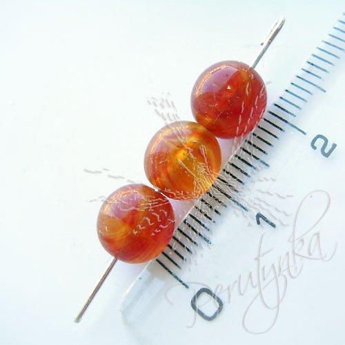 Kuličky 8 mm, 15 ks, barva oranžovo hnědá