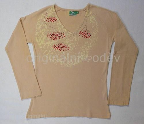 SLEVA: Malované tričko dámské - jeřabiny - béžové