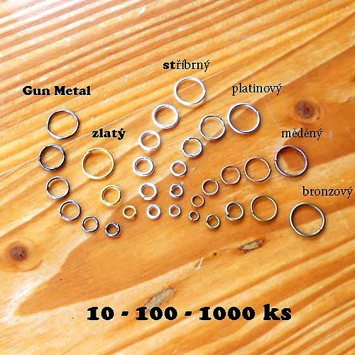 Kroužek 10mm - 10ks - Gun Metal