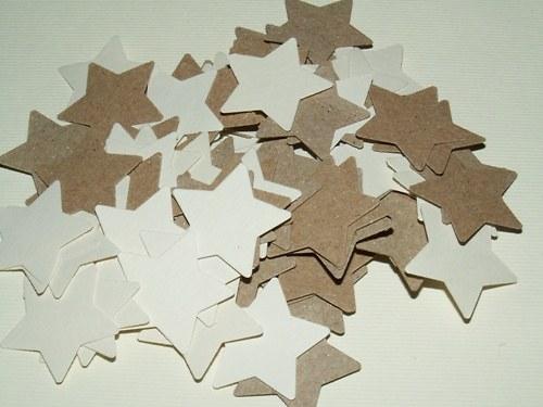 Hvězdy velké - hnědé a bílé (100 ks)