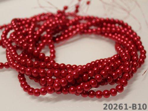 19477-B10 Voskované perly 6mm červená, bal. 20ks