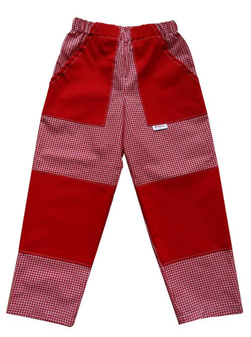 PLÁTĚNÉ KALHOTY červená kostička v.98-128