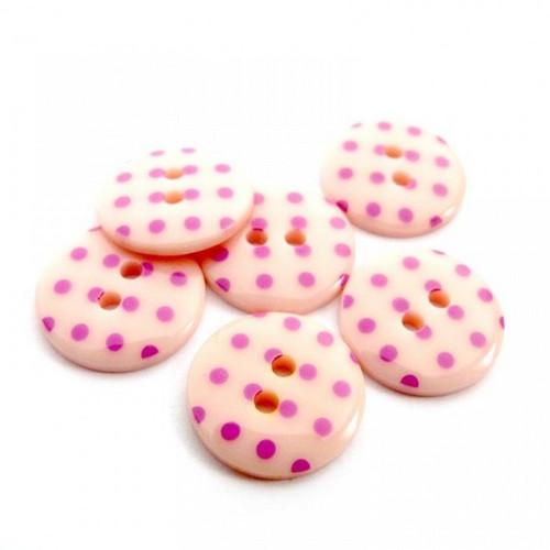 Plastové knoflíky 15mm, růžové s puntíky