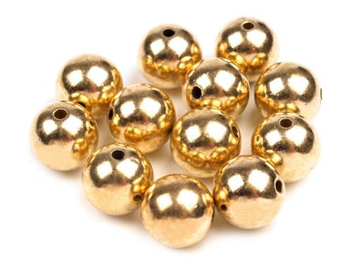korálky glance metalic zlaté Ø12 mm, 10ks