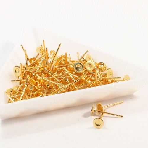 Puzety s ploškou 10 x 4 mm zlaté 7 párů