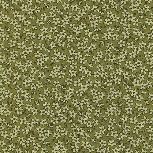 Bavlněná látka T0131-Green Flowers All Over