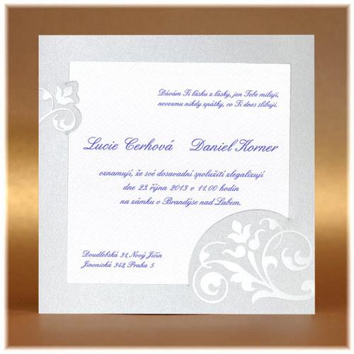 Svatební oznámení s lesklým ornamentem