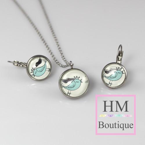 ocelový set -náušnice a náhrdelník ptáčci