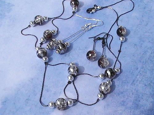 Náušnice s kávovým náhrdelníkem