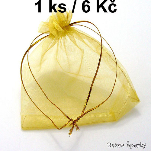 Žlutý organzový pytlíček, 1 ks