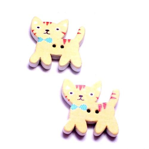 Dřevěné knoflíčky - kočky,žluté, 2 ks,