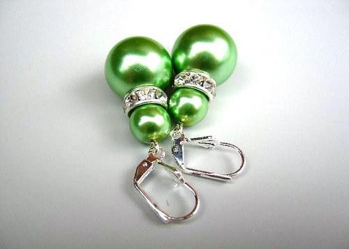 Soft green pearl náušnice