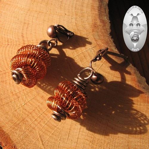 Měděné drátěnky...náušnice klipsy