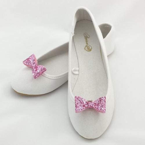 Klipy na botky - růžové třpytivé mašličky