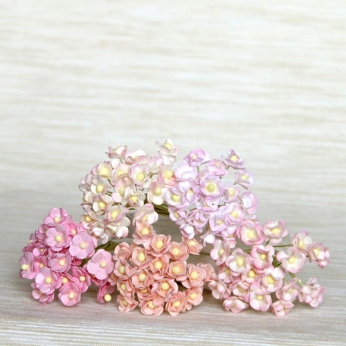 Papírové květy miniaturní růžové mix 5 ks