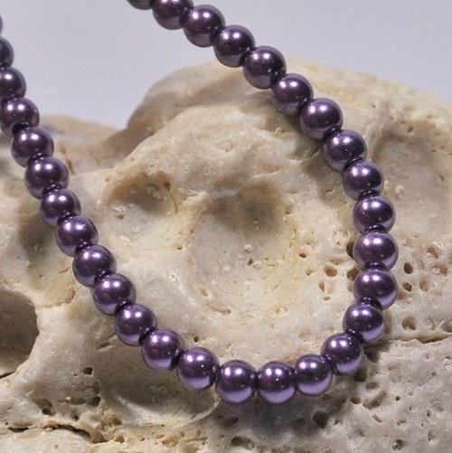 35. Voskové perle 4 mm/30ks/ tmavá fialová