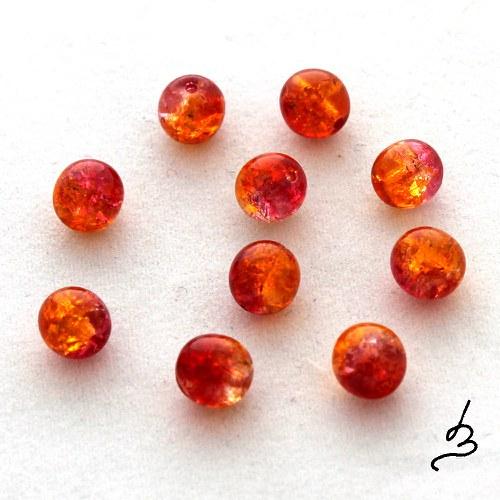 Kuličky 6 mm červenooranžové - 20 ks