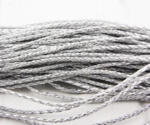 2m 6.5 ft Silver PU Kožené Pletené Lano Kroucené Š
