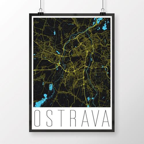 OSTRAVA, 50x70cm, moderní, černá
