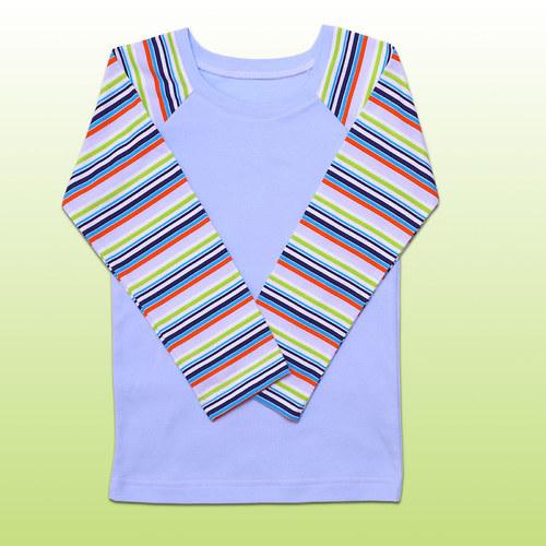 Tričko světle modré proužkové v.98